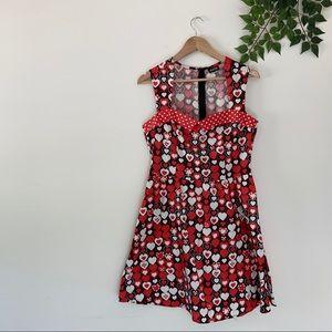 Modcloth Retrolicious L Red Heart Pinup Dress